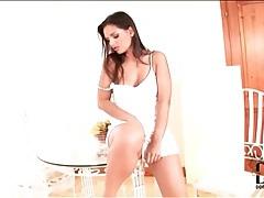 Short white dress on beautiful eve angel tubes