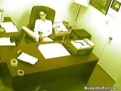 Sexy office girl masturbates on security cam tubes