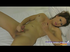 Cute asian shemale bends over and offer up her tight hole tubes
