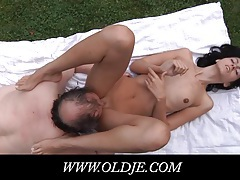 Young brunette tricks and fucks old man tubes