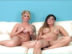 Tattooed pornstars take off their lingerie tubes