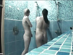Tiny titty teens fool around in shower tubes