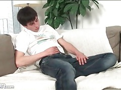Slim and cute guy in jeans jerks off tubes