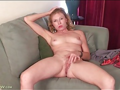 Short sexy dress on solo blonde milf tubes
