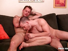 Cute shaved head bottom sucks hard dick tubes