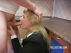 Hot bitch gets fisted and ass-fucked in the kitchen tubes