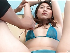 Cutie in skimpy bikini fingered and toy fucked tubes