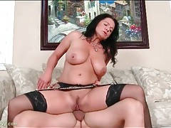 Curvy mom sits cunt on a big hard cock tubes