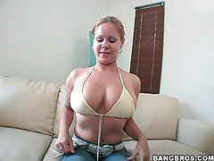 Chick strips from bikini and fondles her tits tubes
