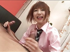 Kotone aisaki strokes and sucks two dicks tubes