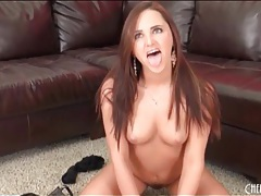 Solo girl in long earrings masturbates with toy tubes