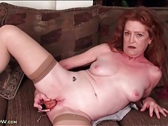 Milky white mature masturbates cunt with toy tubes