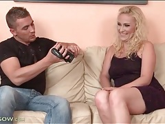 He films sexy striptease of his blonde lady tubes
