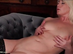 Milf gropes her titties and rubs her pussy tubes