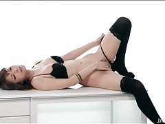 Japanese beauty solo in stockings and heels tubes