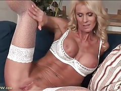 Milf in white lingerie models sporty body tubes