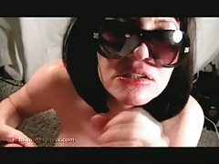 Amateur wife sucks hubbys cock until he blows on her face tubes