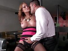 Slut with smoking hot fake titties sucks dick tubes