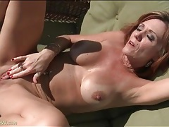 Mature tans and masturbates outdoors tubes