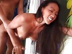 Fit asian cocksucker fucked in tight pussy tubes