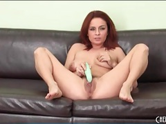 Pussy vibrating and fucking with sexy redhead tubes