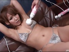 Beauty in bikini vibrated by many toys tubes