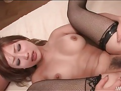Good sex with a hot chick in black fishnets tubes