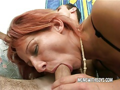Stepmom helps young boy getting hard tubes
