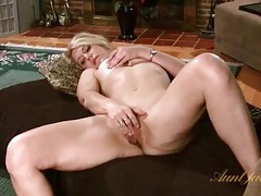 Blonde milf fondles tits and masturbates pussy tubes