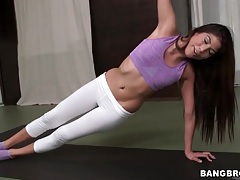 Sporty girl in yoga pants gets naked tubes