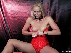 Red corset looks hot on stunning kathia nobili tubes