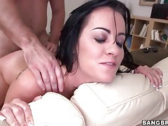 Tattooed slut fucked over a couch tubes