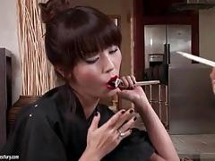 Sexy asian girl strips from her kimono tubes