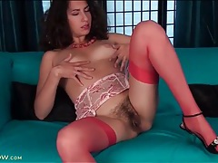 Hairy solo milf wears stockings and garter belt tubes
