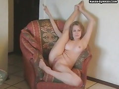 Sweet naked blonde bends in solo video tubes