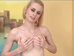 Tube top and skirt look sexy on blonde girl tubes