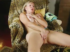 Busty mature strips naked to pleasure her pussy tubes