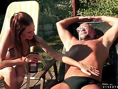 Bikini girl mira shine sucks old dick outdoors tubes
