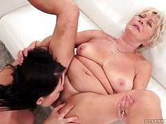 Drinking wine and eating pussy with granny lesbian tubes