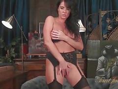 Curvy solo brunette in stockings masturbates tubes