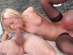 Two stiff dicks fuck blonde in stockings tubes
