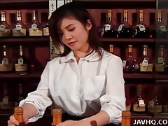 Japanese bartender eaten out by a customer tubes