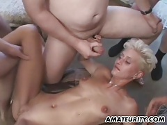 Amateur blonde girlfriend gangbang with bukkake tubes