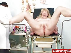 Blonde gran dirty puss test and enema tubes