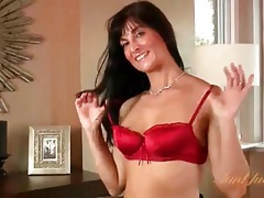 Classy milf keeps stockings on to masturbate tubes
