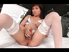 Sexy white stockings on masturbating ladyboy tubes