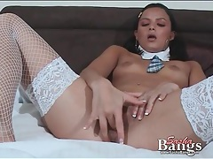 Teen brunette fucks her box with a pink dildo tubes