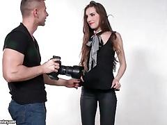 Skinny model sucks photographer lustily tubes