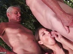 Grandpas get blown by cute girl outdoors tubes