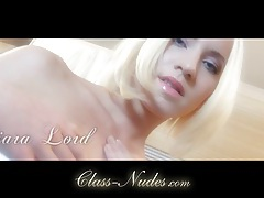 Beautiful delicate blonde stripping with lust tubes